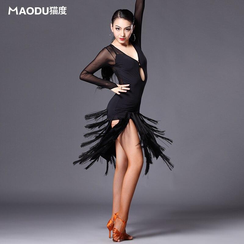 Märke MAODU Nyaste Smala kvinnodanskläder Mager vuxen kvinnlig danskläder Sheer Professional kvast svart latin klänning