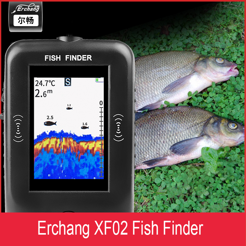 Wired Sonar Sounder Fish Finder Depth 100M XF02 Colorful LCD  Portable Echo Sounder For Fishing In Russian Alarm Fishfinder