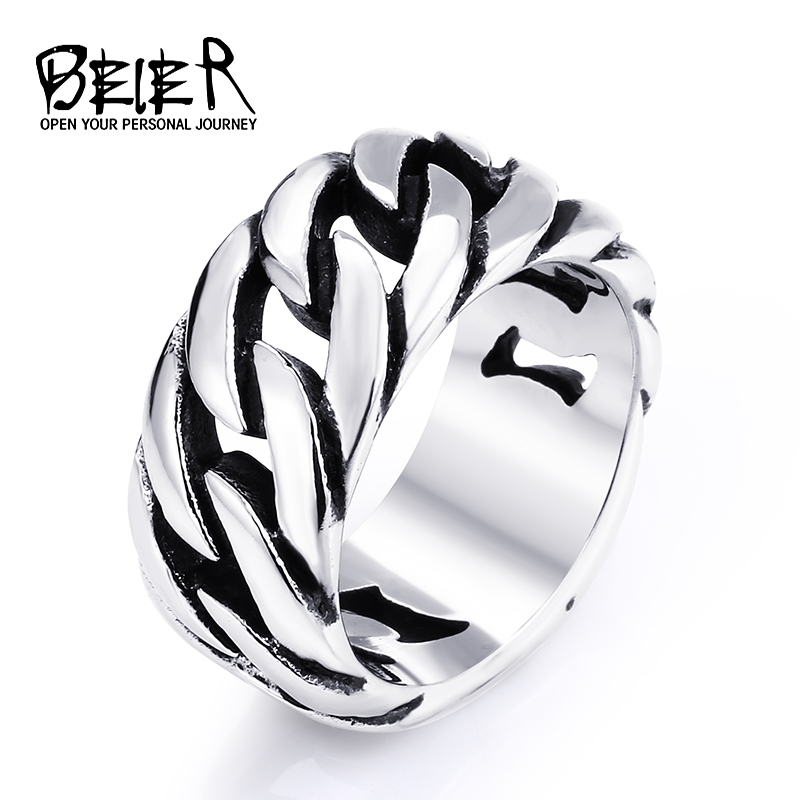 gothic personality chain ring man goth 316l stainelss steel fashion 2017 mens accessories br8 175 - Goth Wedding Rings