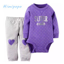 HIMIPOPO Lovely Heart Print Baby Girls Clothes Set Kids Outfit Toddler Infant Girl Bodysuits Children Set Pant Baby Romper 2pcs