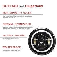 2pcs 7 Inch Car Auto Round LED Headlights Halo Angle Eyes For Jeep Wrangler JK LJ