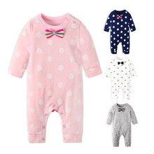 Фирменная Новинка Мода для новорожденных для маленьких мальчиков комбинезон с длинными рукавами комбинезон, костюм Маленьких Мальчиков и комплекты для девочек черная одежда