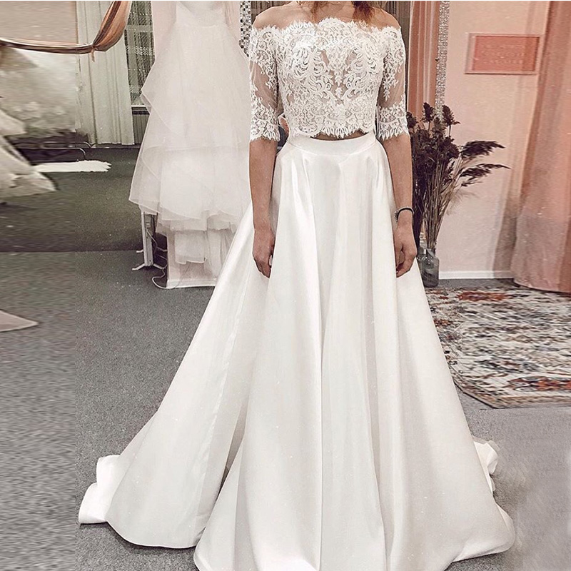 Two Pieces Wedding Dresses With Half Sleeves 2019 New Vestido De Novia Lace Top Satin Skirt Wedding Dresses Sweep Train Custom