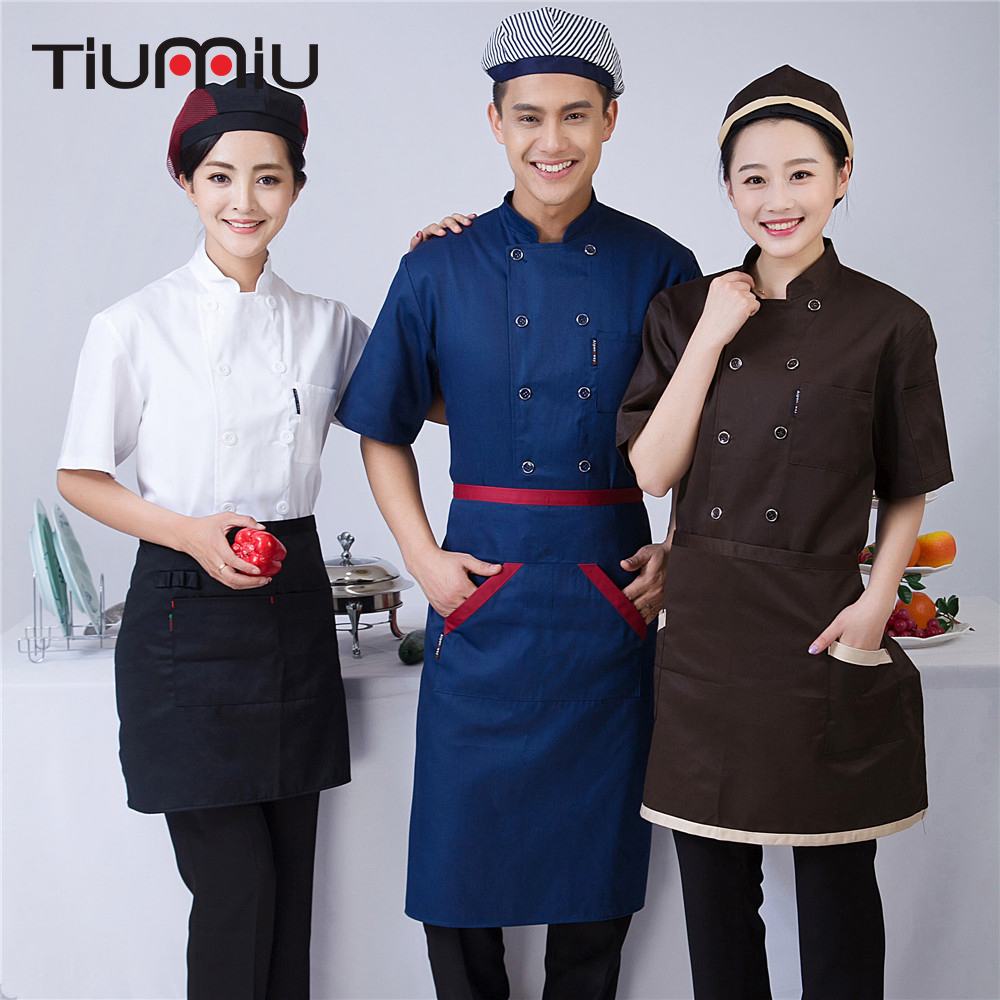 2018 Summer Double Breasted Chef Uniform Unisex Short-sleeved Stand Collar Kitchen Bakery Sushi Chef Jacket Summer Working Shirt