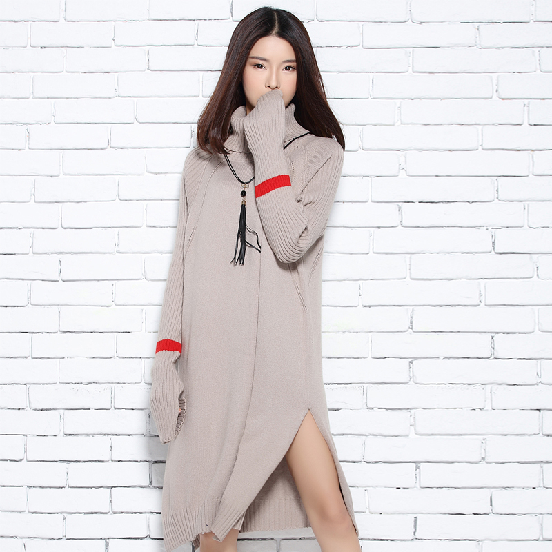 2017 autumn and winter turtleneck knitted sweater female thickening loose plus size sweater women long sleeve thick pullover
