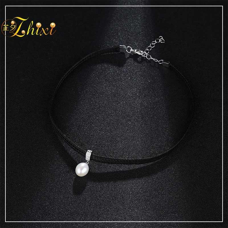 ZHIXI naszyjnik z pereł wisiorek słodkowodne Pearl Choker naszyjnik Fine biżuteria z kamienia naturalnego wisiorek Trendy prezent dla kobiet D230