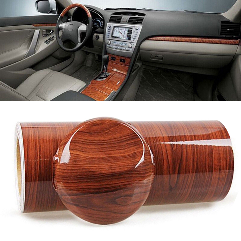 For Car Interior DIY 1pc 100 x 30cm High Glossy Wood Grain Vinyl Sticker Waterproof Textured Auto Car Decal Wrap Film