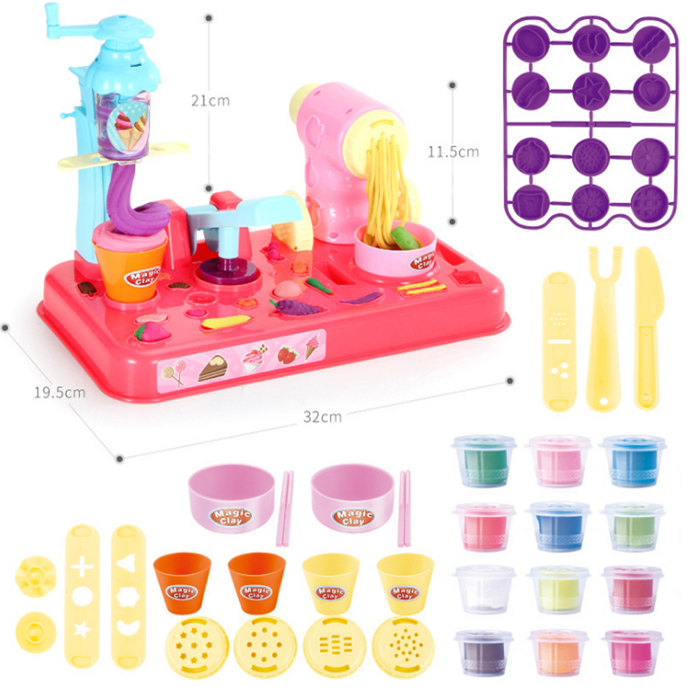 Image 2 - DIY Playdough Clay Dough Plasticine Ice Cream Machine Mould Play Kit DIY Toy Handmade Noodle Maker Kitchen Toy Kids Gift-in Modeling Clay from Toys & Hobbies