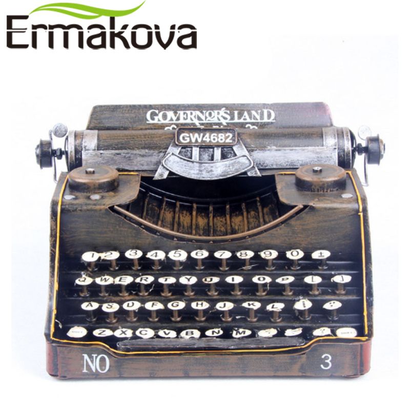 ERMAKOVA Retro Typewriter Handmade Metal Crafts Vintage Typer Antique Marking Machine Model Figurine Prop Gift Home