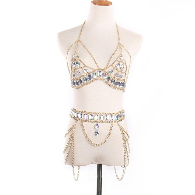Jeweled Bikini Top and Belt Set