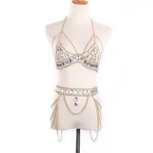 Image 1 - חדש ריינסטון גוף שרשרת נשים מותן חגורת שרשרת למעלה חזייה לרתום קיץ ביקיני מים זרוק גוף שרשרת קיץ פסטיבל תכשיטים