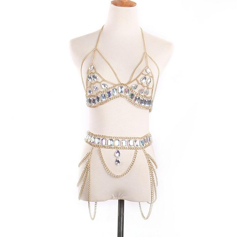 Bikini suit Fashion crystal Sexy Body Necklace Chain Bra Necklace Summer Bohemian luxury bra Women-in Body Jewelry from Jewelry & Accessories