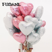 18inch 5pcs Wedding Party  Foil Balloons White Pink Red Heart Shaped Helium Air Ball Birthday Decoration