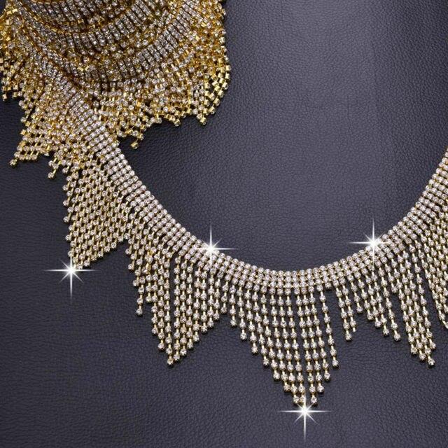 10yards Drop Tassel Gold plated Luxury Rhinestone Trims Bridal Wedding dress  belt Decoration Clothing Rhinestones chains 47076c9b9ba8