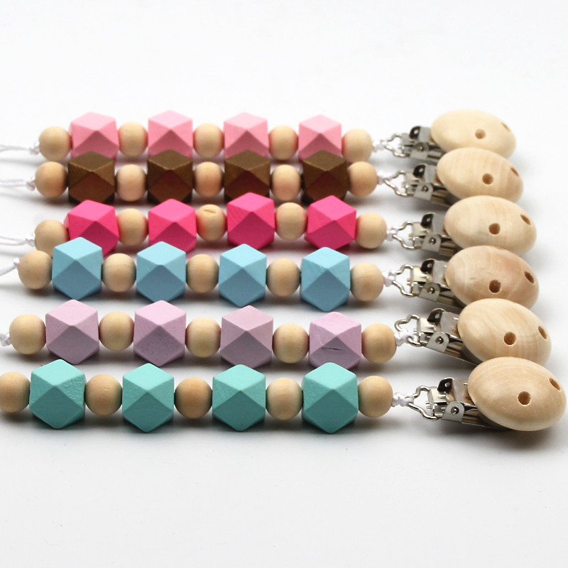 DIY Wooden Baby Pacifier Clip Colorful Pacifier Chain For Baby Teething Soother Chew Toy Dummy Clips