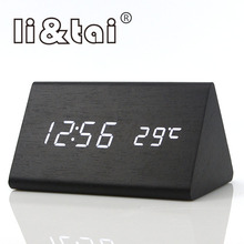 Triangle Wooden LED Alarm Clock modern Temperature Sounds Control Calendar LED Display Electronic Desktop Digital Table Clocks стоимость