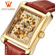цены OUYAWEI Luxury Brand Mechanical Watch 2019 Wristwatch Leather Strap Men Wrist Watch Self Wind Skeleton Watch For Men Male Clock