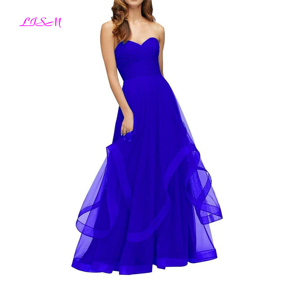 Sweetheart Ruched Organza African Prom Dress 2019 Zipper Back Floor Length Cheap Bridesmaid Gown Simple Ruched Long Formal Dress