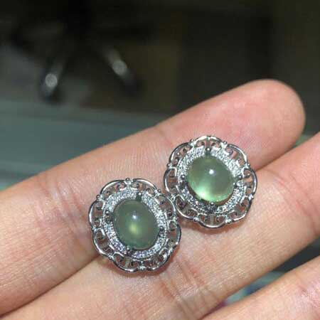 MeiBaPJ Natural Prehnite Gemstone Stud Earrings Real 925 Silver Stud Earrings Fine Charm Jewelry for