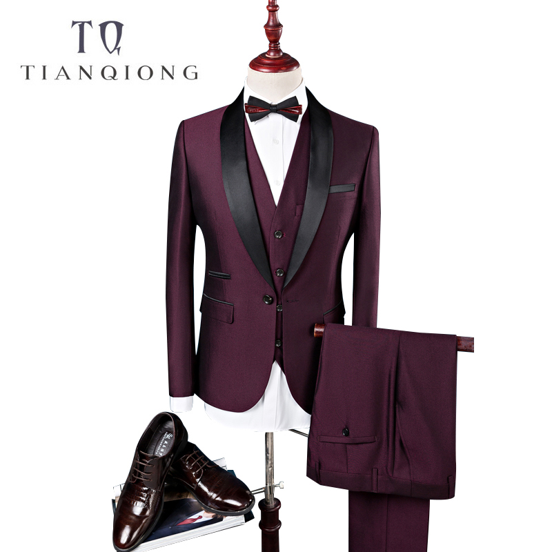 TIAN QIONG Uomo Vestito di Abiti Da Sposa Per Gli Uomini Collo a Scialle 3 pezzi Slim Fit Borgogna Vestito Mens Royal Blu Tuxedo (giacca + Vest + Pants)
