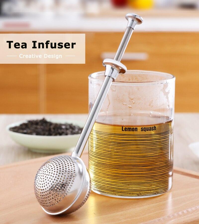 Tea Strainer Pipe Shape Filter Infuser Stainless Steel Spice Loose Leaf Mesh