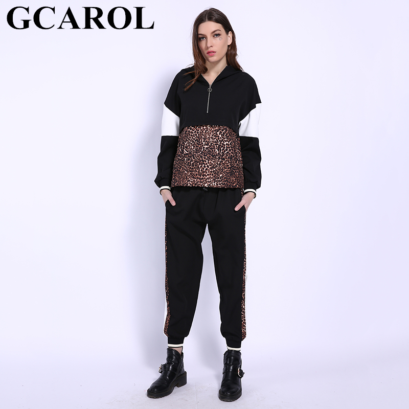 GCAROL 2019 Spring Women 2 Pieces Sets Leopard Spliced Sweatshirt Ankle Length Harm Pants Oversize Tracksuits Hoodies Outfiits
