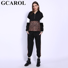 GCAROL Hoodies Sweatshirt Tracksuits Harm-Pants Spliced Oversize Outfiits Leopard 2pieces-Sets