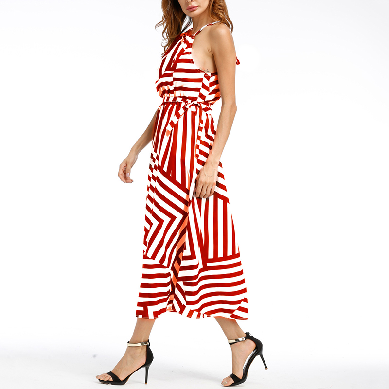 Summer Women Casual Halter Sleeveless Striped Long Dress for Vacation Beach