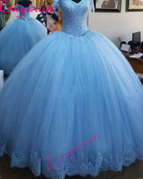 Light Blue Ball Gown Princess Quinceanera Dresses Cap Sleeve Appliques Beaded Tulle Lace up Back Prom Dresses Sweet 16 Dresses