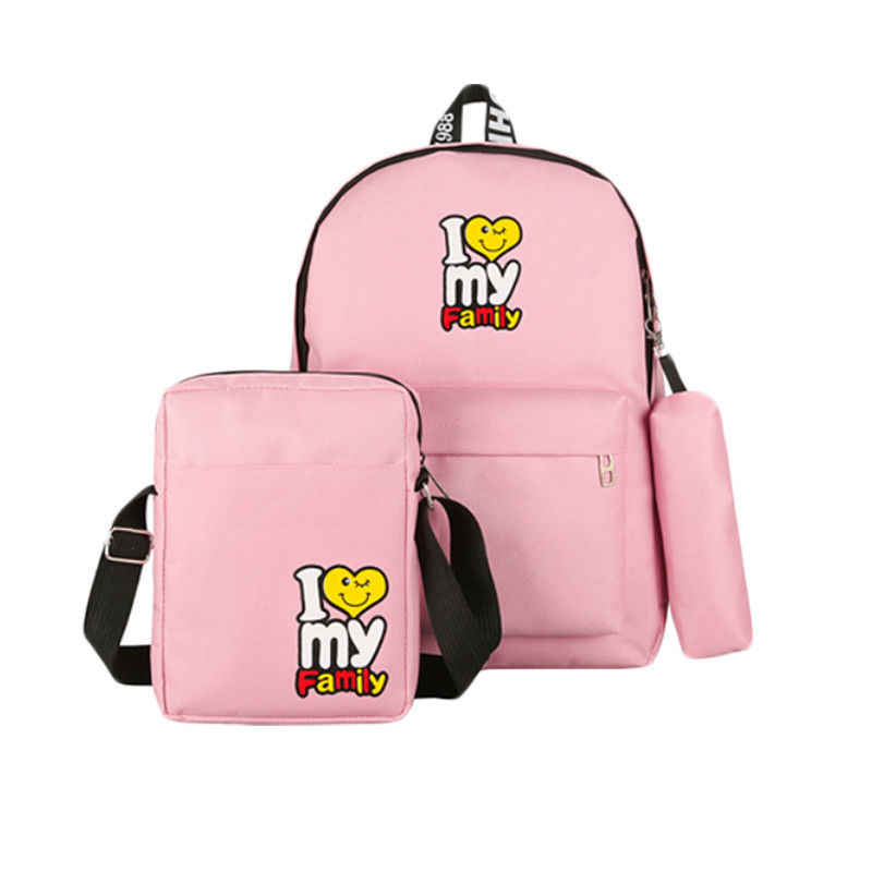 6a7289076 ... Women Canvas Backpack Travel Bags School Bags For Students 3PCS  Backpack Sets Cartoon Lady Girls Backpack ...