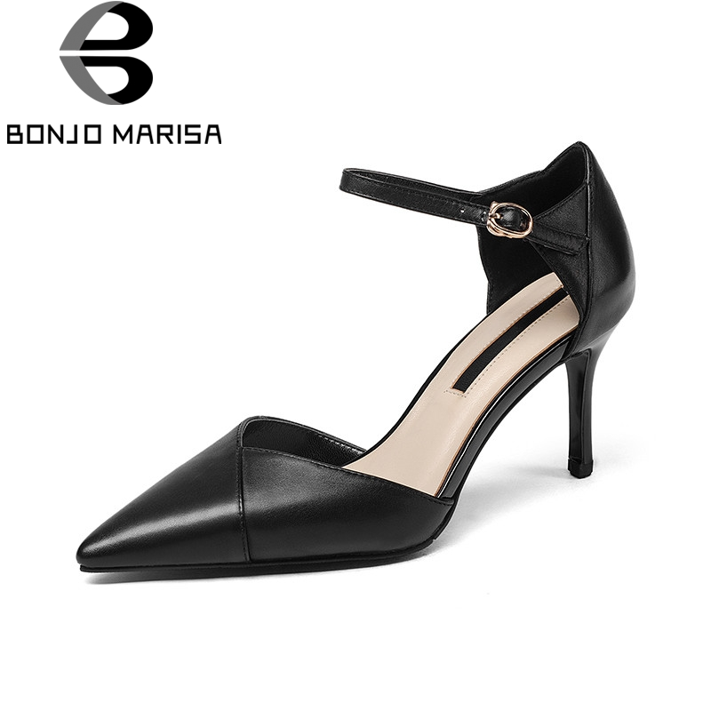 BONJOMARISA 2018 Summer Elegant Shallow Genuine Leather Women Pumps Pointed Toe Black Ol Shoes Sexy High Thin Heels Women Shoes spring summer sexy nightclub shallow mouth thin high heels pu leather buckle square toe pumps shoes fashion elegant silver pumps