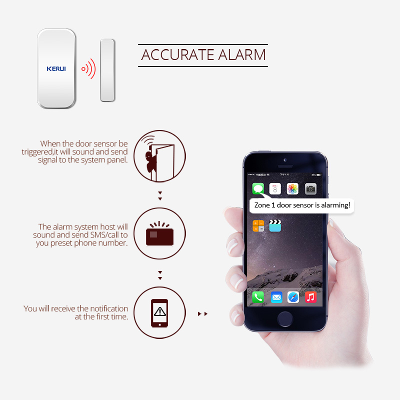 Image 5 - KERUI  433MHz Door Window Alarm Sensor Wireless Magnetic Switch Contact Detector Signaling for Intruder Security Alarm System-in Sensor & Detector from Security & Protection