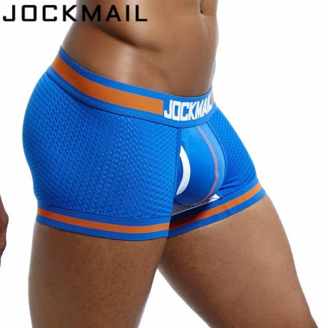 JOCKMAIL бренд нижнего белья мужчины сетки U сумка сексуальные трусы Cueca хлопковые штаны сундуки Боксеры Гей Мужской трусики горячие