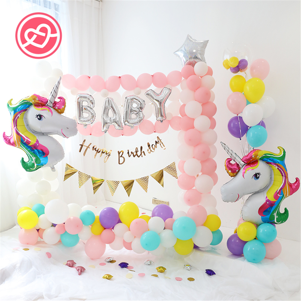 Hot sale 1set birthday unicorn party balloons decorations for Balloon decoration birthday party chennai