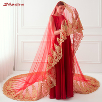 Cathedral Red Wedding Veil 3 Meters Long Lace Bride Bridal Veils