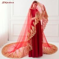 Cathedral Red Wedding Veil 3 Meters Long Lace Bride Bridal Veils