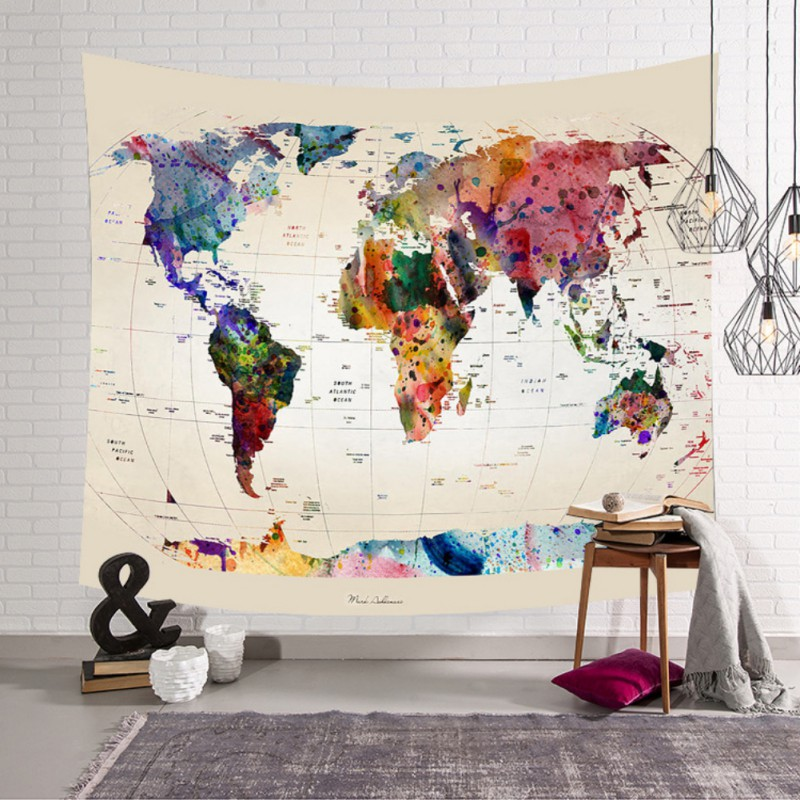 Tapestrys World Map Starry Printed Tapestry Polyester Fabric Wall Hanging Decor Mural Multicolor Beach Towel Picnic Blanket