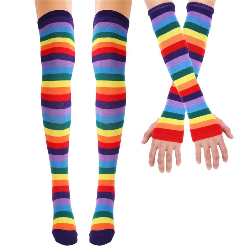 Girls Women Rainbow Striped Stockings Overknee Long Stockings Colorful Stripes Thigh High Socks Knitted Lady Over The Knee Socks