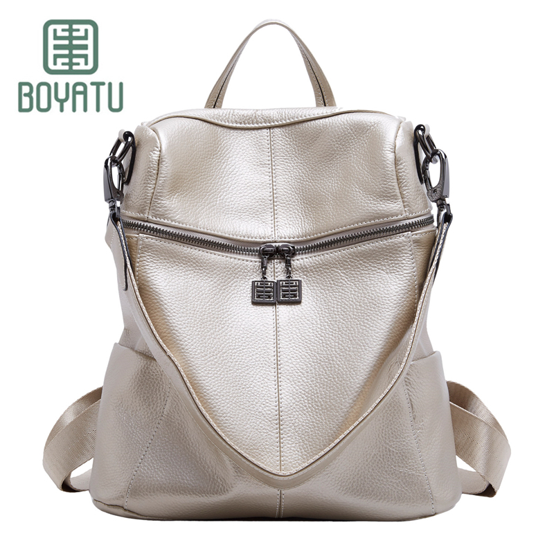 BOYATU Genuine Leather Backpack Female Mochila Backpack for Girls Rucksack Bagpack Shoulder School Bag Sac A Dos Multifunction