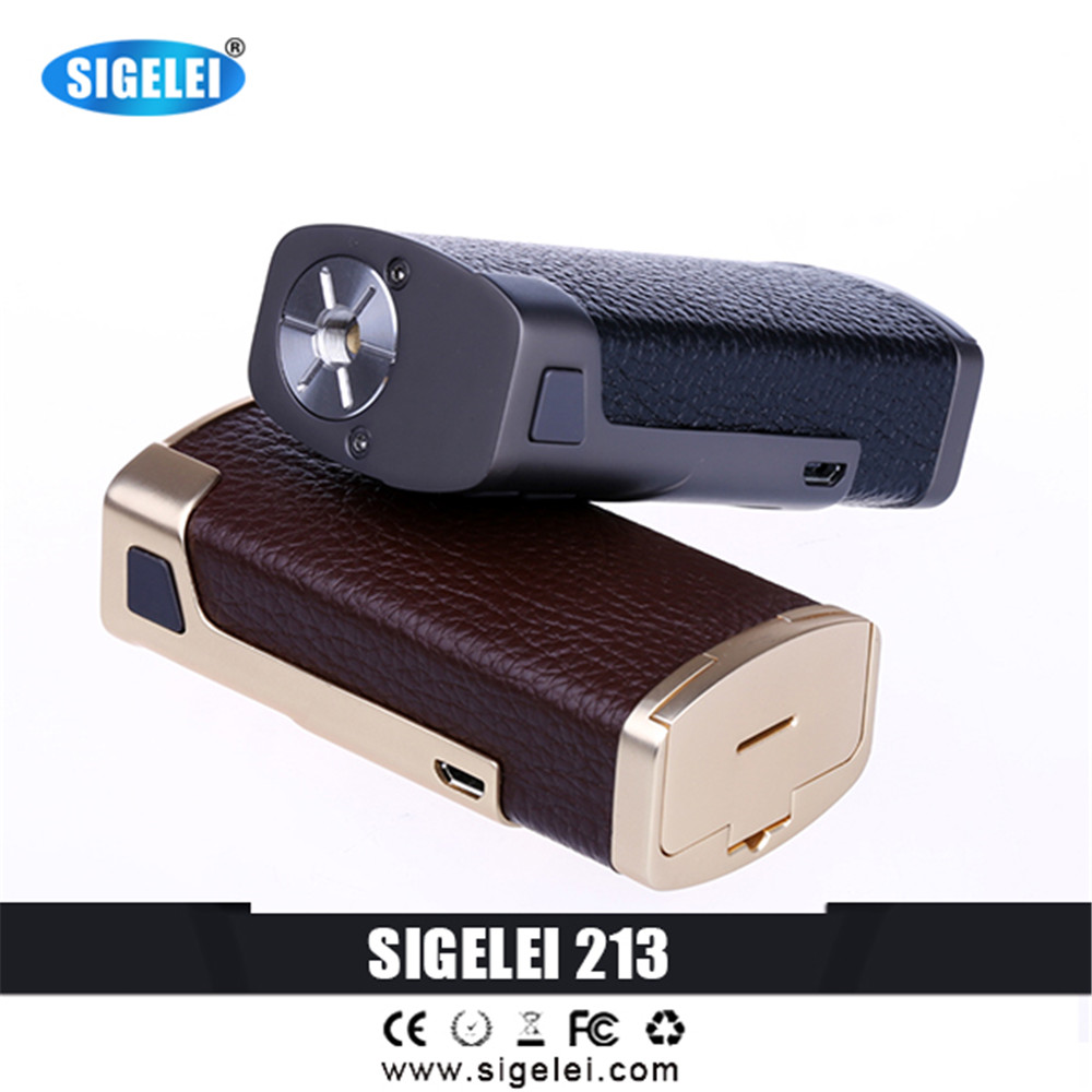 2017 Original Sigelei Leather &Zinc Alloy vape 213 e electronic cigarette  box mod  TC Box Mod  10w-213W