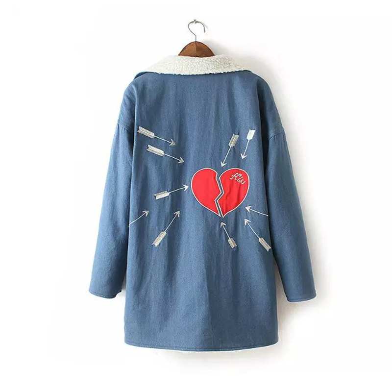 2017 Europe and the United States wind autumn and winter new million sword through  heart embroidery imitation sheep lamb coat europe and the united states long sleeve hooded keep out the cold winter to keep warm and comfortable cotton coat