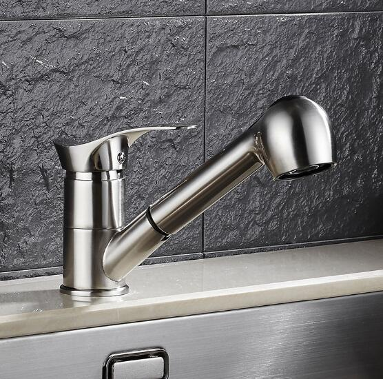 Kitchen Faucet 360 Degree Swivel Pull Out Kitchen Sink Faucet Water-Saving Polished nickel /gold Basin Crane Mixer Brass Tap newly arrived pull out kitchen faucet gold chrome nickel black sink mixer tap 360 degree rotation kitchen mixer taps kitchen tap