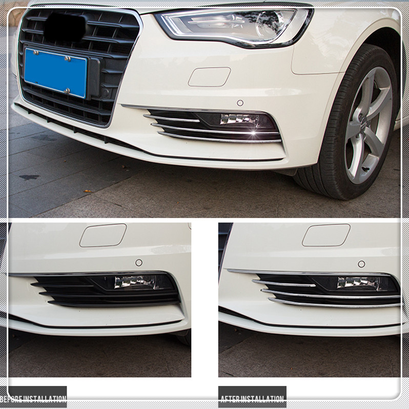 Car Front Fog Light Lamp Cover Trim Strips For <font><b>Audi</b></font> <font><b>A3</b></font> <font><b>8V</b></font> <font><b>Sedan</b></font> 2012 2013 2014 2015 2016 Stainless Steel Auto Accessories image