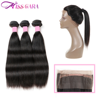 3 Bundles Brazilian Straight Hair With 360 Lace Frontal Closure 100% Human Hair With Closure Miss Cara Remy Hair Weaves