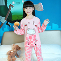 New 2017 Spring Princess style Children Pajama Sets Cotton Kids Pijamas Set 3-12Y Sleepwear Girls Pyjamas LORI Lovely Clothing