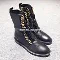 Mais novo venda quente do punk estilo ouro prata botas de corrente plana botas de motocicleta casual rendas up livramento botas de tornozelo dropship