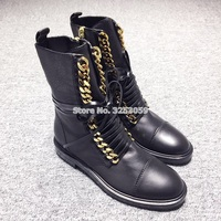 Newest Hot Selling Punk Style Gold Silver Chain Boots Flat Motorcycle Boots Casual Lace up Ridding Boots Dropship Ankle Boots
