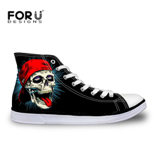 FORUDESIGNS Classic 2017 Men Stars High Top Canvas Shoes All Fashion Men Casual Shoes 3D Skull Printed Zapatos Mujer Size 39-45