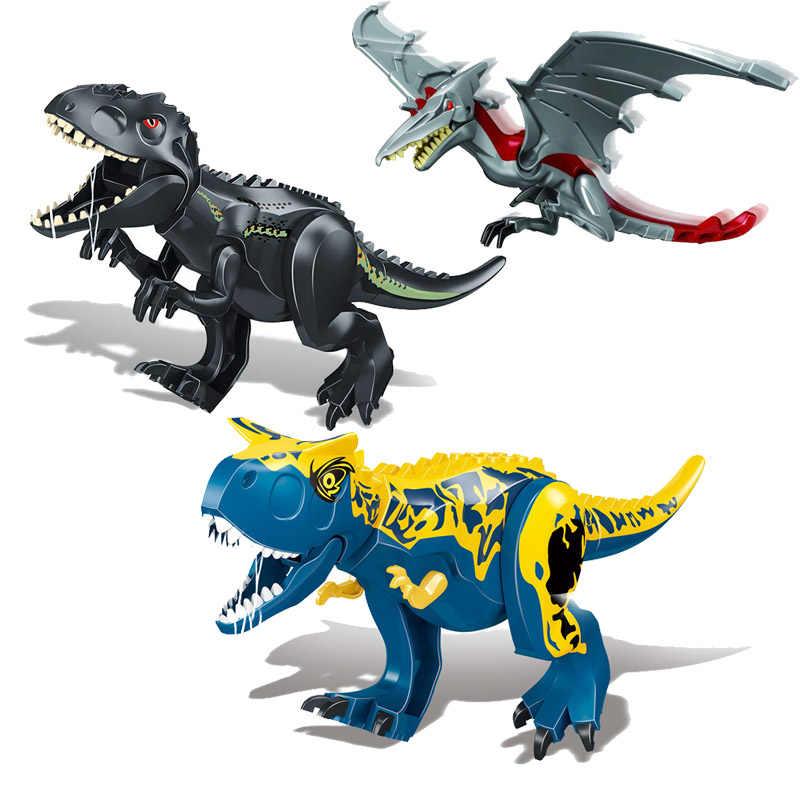 Nova Multicor Mundo Dinossauro Jurassic Park Tiranossauro Rex Building Blocks Brinquedos Presentes das Crianças