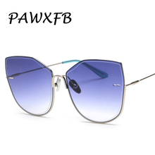 PAWXFB Trendy 2019 High quality Oversized Square Sunglasses Men WomenClear Blue Photochromic Alloy Frame Adult Rimless Glasses